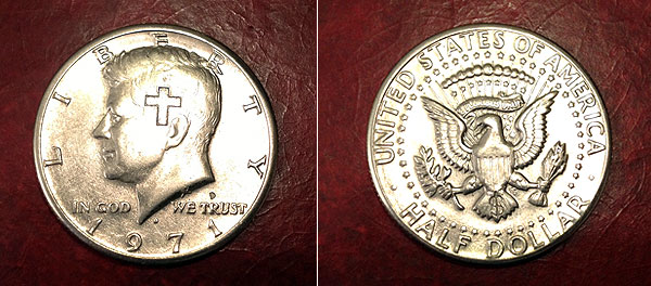 1971 kennedy half cross engraved
